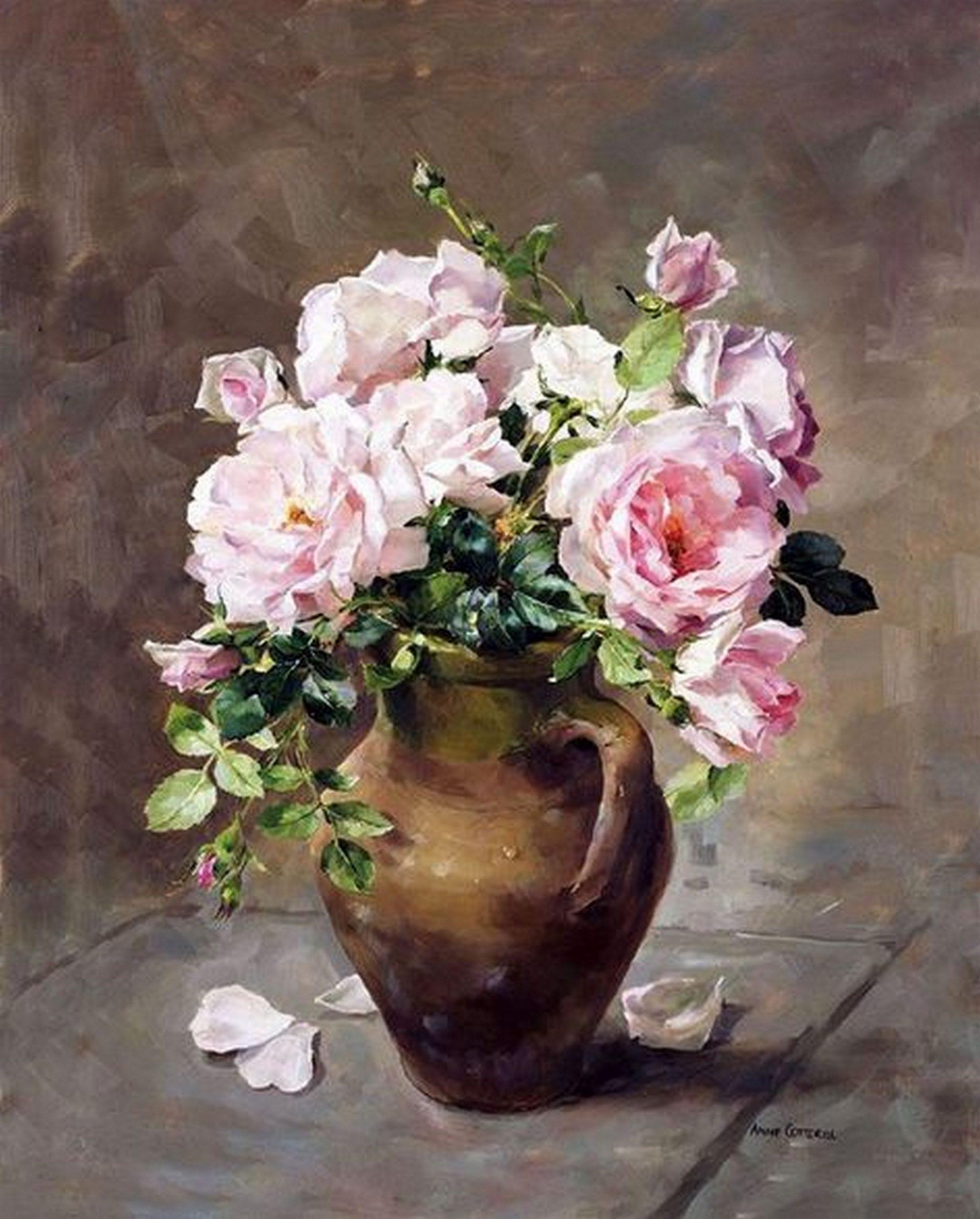 roze ruze - slikanje po brojevima